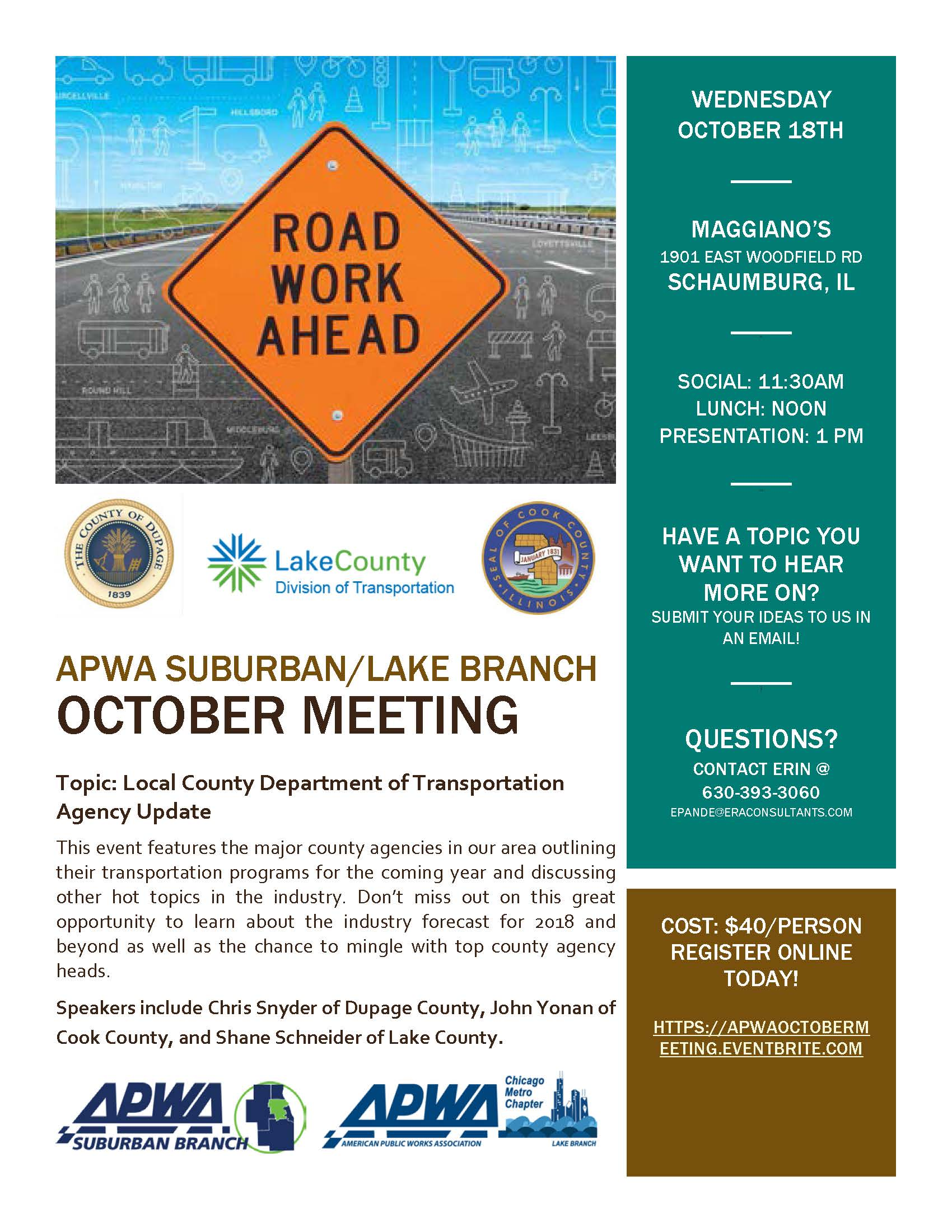 County DOT Update w/ Cook, DuPage, and Lake Counties [Lake, Suburban]