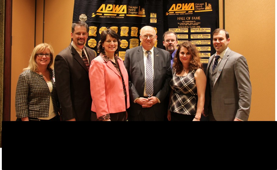 Pictured left to right:  Past President Laura McGovern, Secretary John Briggs, President Jennifer Barlas, National President Ed Gottko, President Elect Mike Millette (in back), Vice President Jennifer Hughes and Treasurer Sean O'Dell.